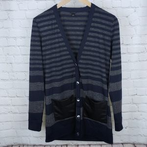 Ann Taylor Stripe Faux Leather Pocket Cardigan